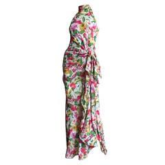 1980s Valentino Boutique Flower Silk Maxi Dress