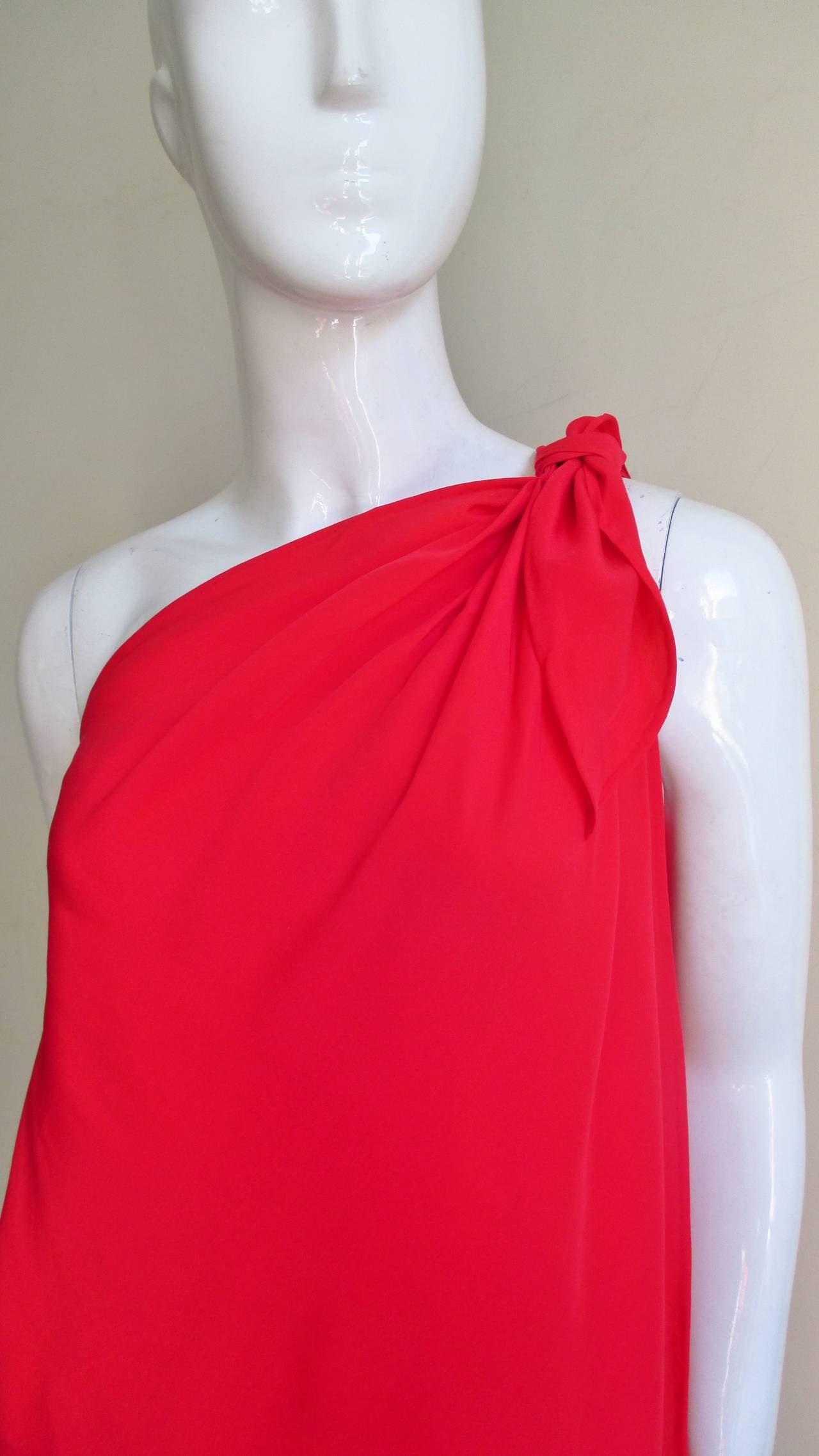 Fabulous Vintage Halston One Shoulder Wrap Dress At 1stdibs