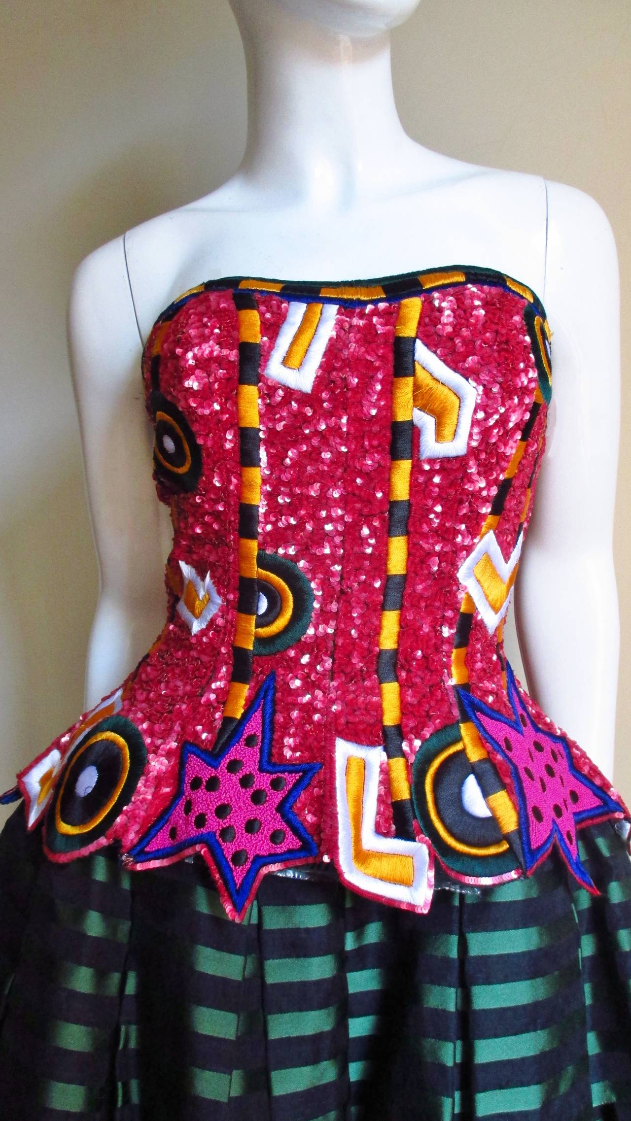 1980s Fabrice Couture Embroidered Beaded Silk Bustier Dress 3