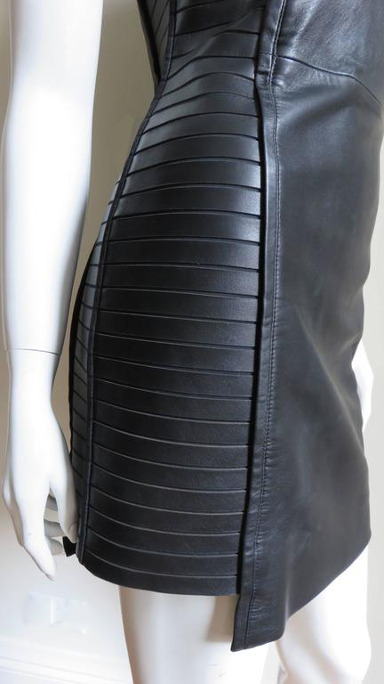 Black  Fabulous Versace Leather  Dress For Sale
