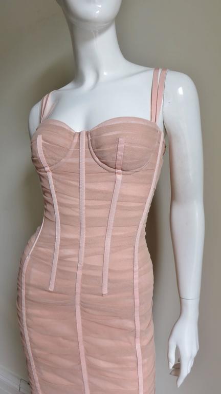 Dolce & Gabbana Nude Pink Silk Ruched Bodycon Corset Dress 2