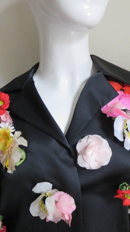 Black 1970's New Bill Blass Flower Covered Shirt or Jacket For Sale