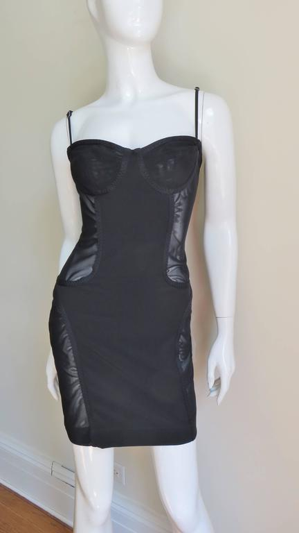 1990s Moschino Vintage Coset Style Dress With Sheer Panels 4