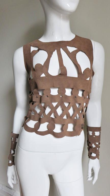 Ferragamo Fabulous Suede Cutout Top & Cuffs 2