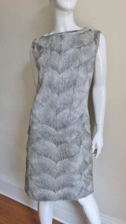 Gray 1960s Mr G Fur Dress and Jacket For Sale