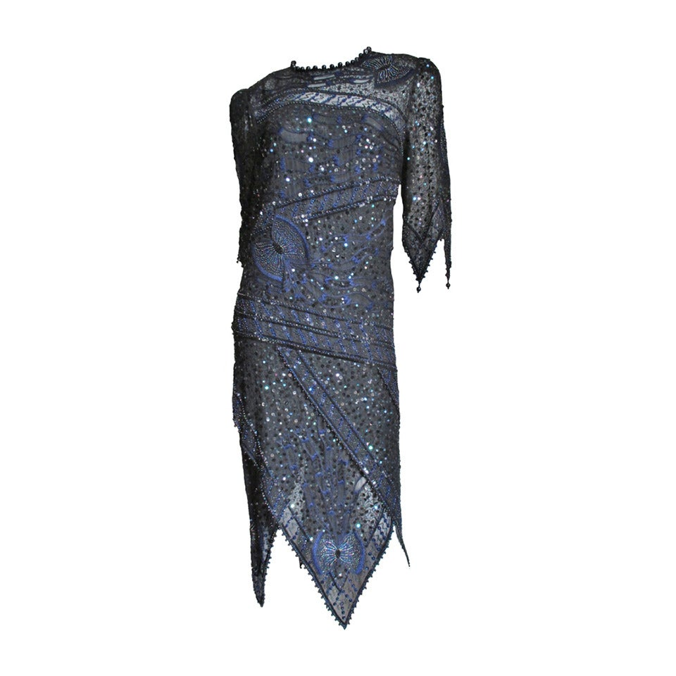 Exquisite Zandra Rhodes Beaded Silk Dress With Points 1