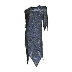 1970s Exquisite Zandra Rhodes Beaded Silk Dress