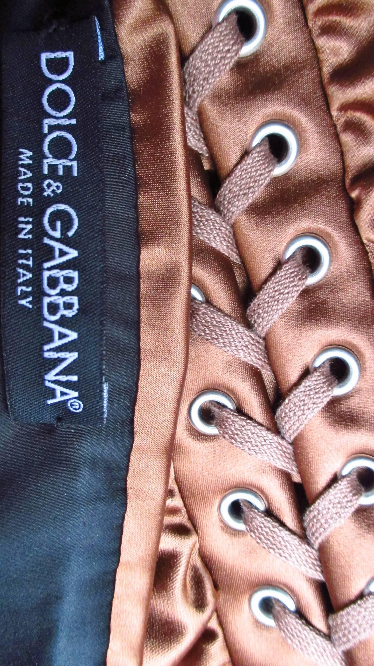 1990s Dolce & Gabbana Bronze Laceup Plunge Halter Dress For Sale 3