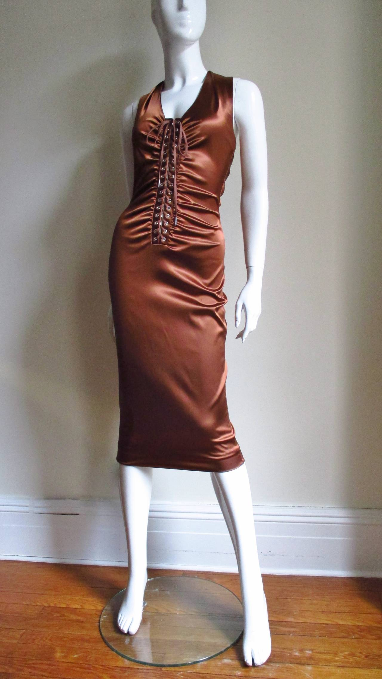 1990s Dolce & Gabbana Bronze Laceup Plunge Halter Dress In Excellent Condition For Sale In New York, NY
