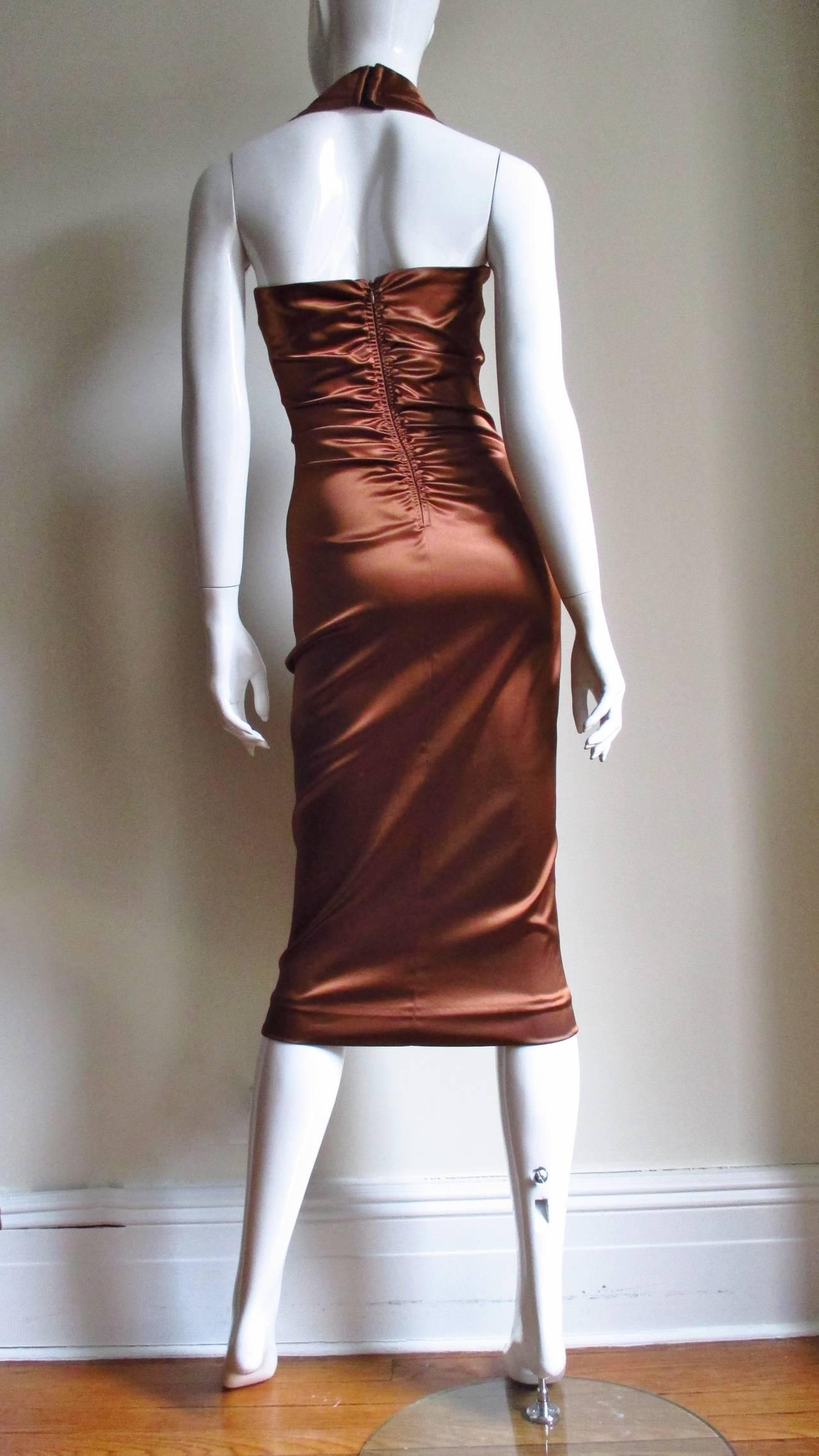 1990s Dolce & Gabbana Bronze Laceup Plunge Halter Dress For Sale 2