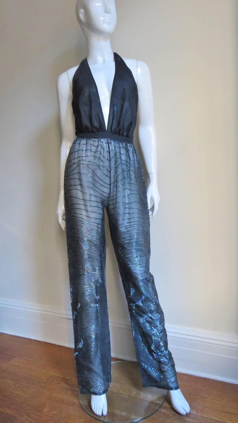 Halston 1970s Plunging Beaded Jumpsuit & Draped Jacket 4