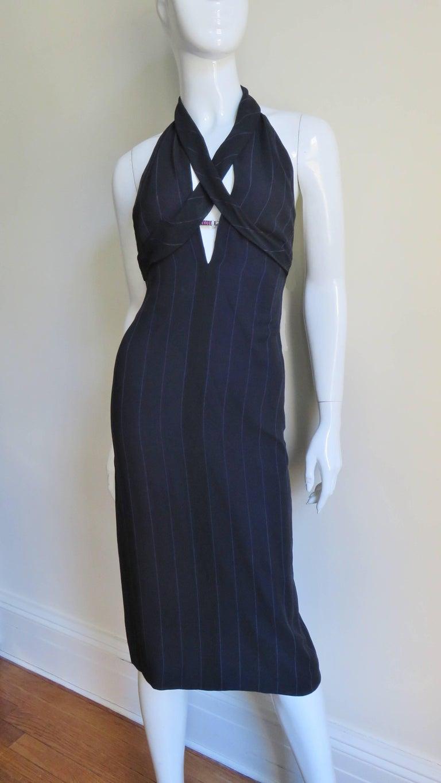 1990s Gianni Versace Hardware Plunge Halter Dress For Sale 3