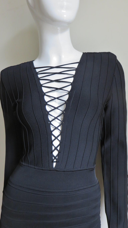 Black Pierre Balmain Lace Up Bandage Dress For Sale
