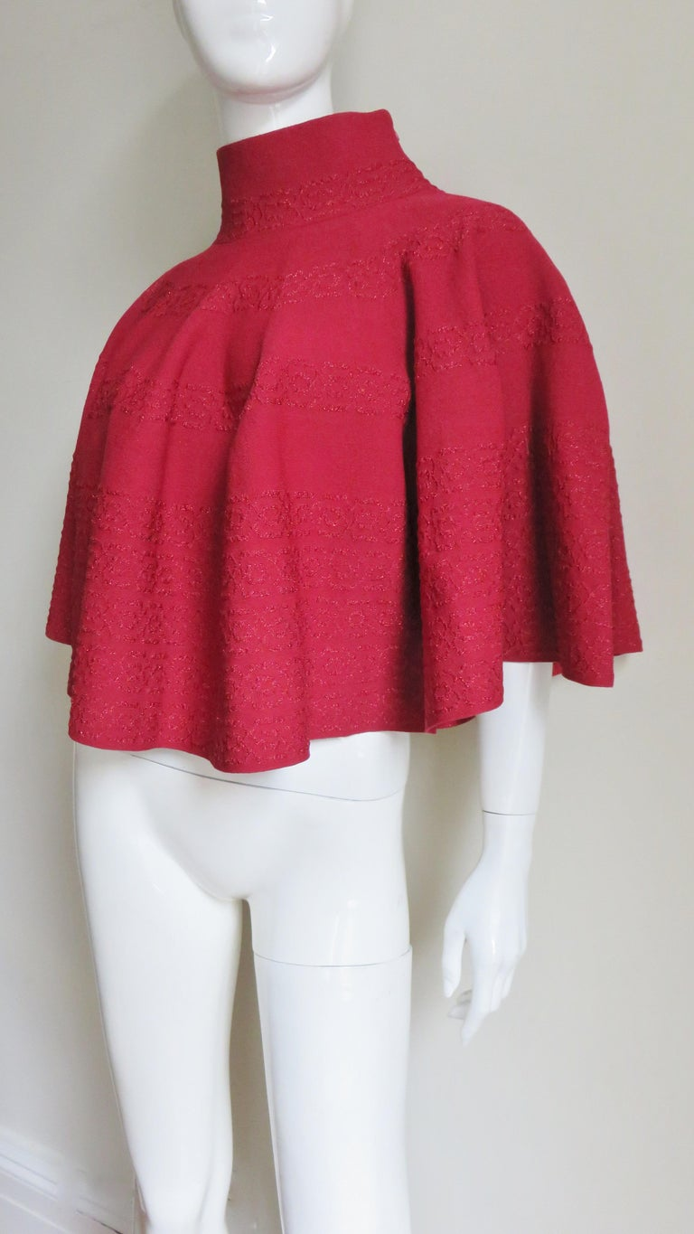 Red  Alaia Sweater Cape Poncho  For Sale