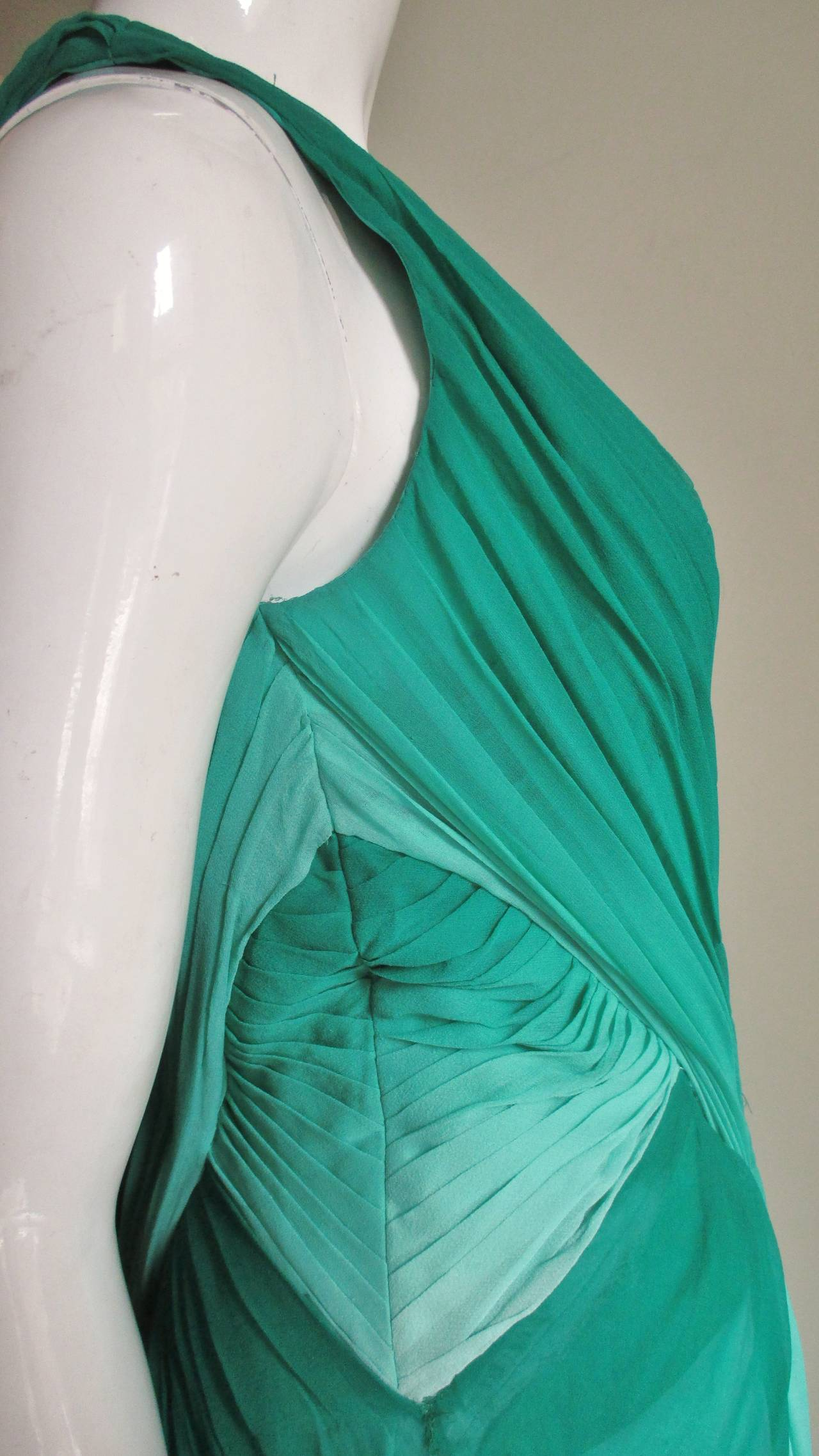 Monique L'huillier Emerald Silk Ombre Gown With Train For Sale 1