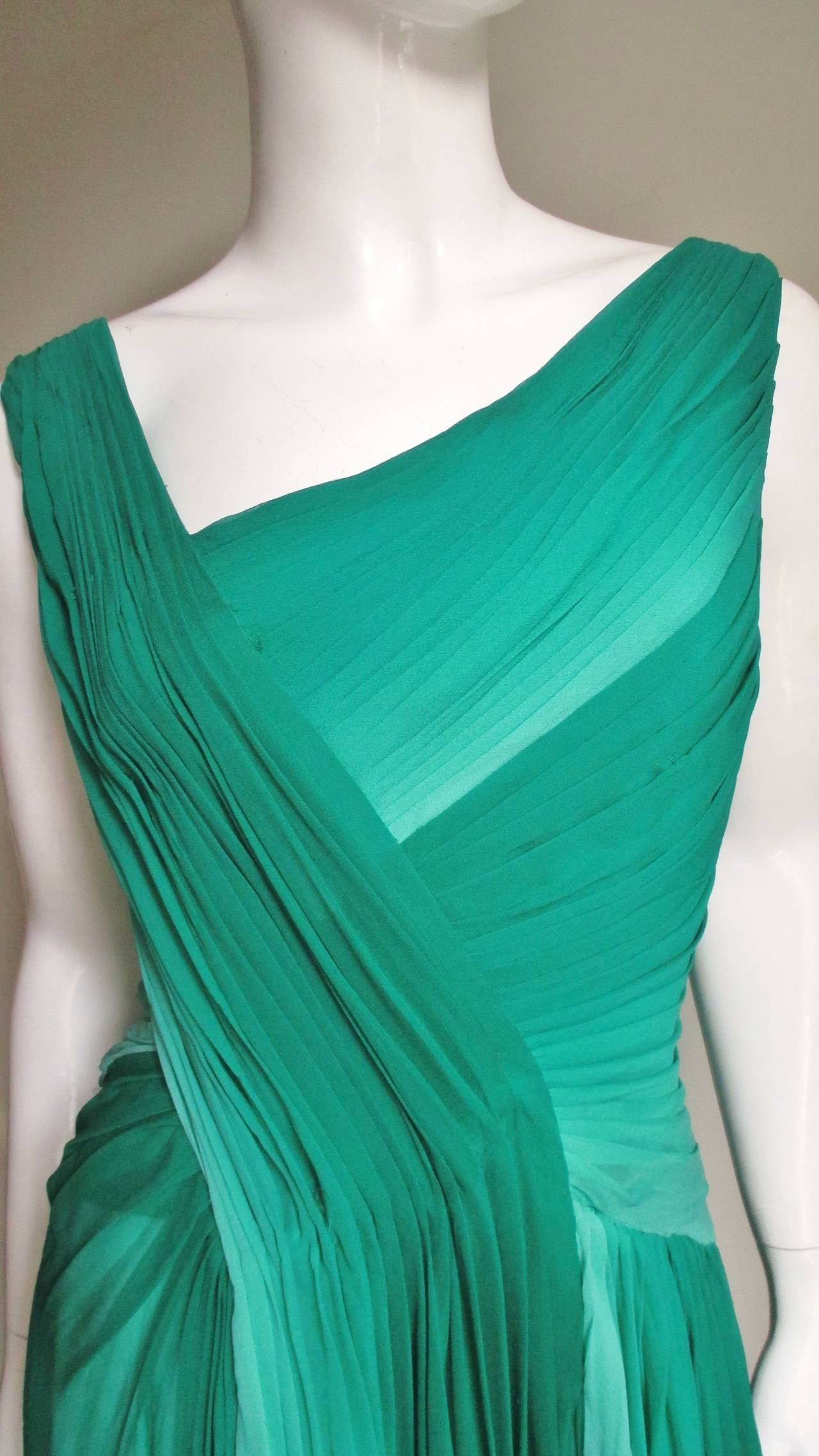 Blue Monique L'huillier Emerald Silk Ombre Gown With Train For Sale