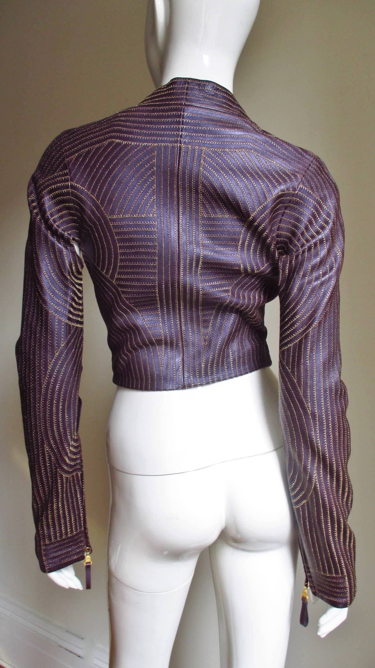 Extraordinary Vintage Ferre Purple Leather Gold Stitched Cutout Jacket 7