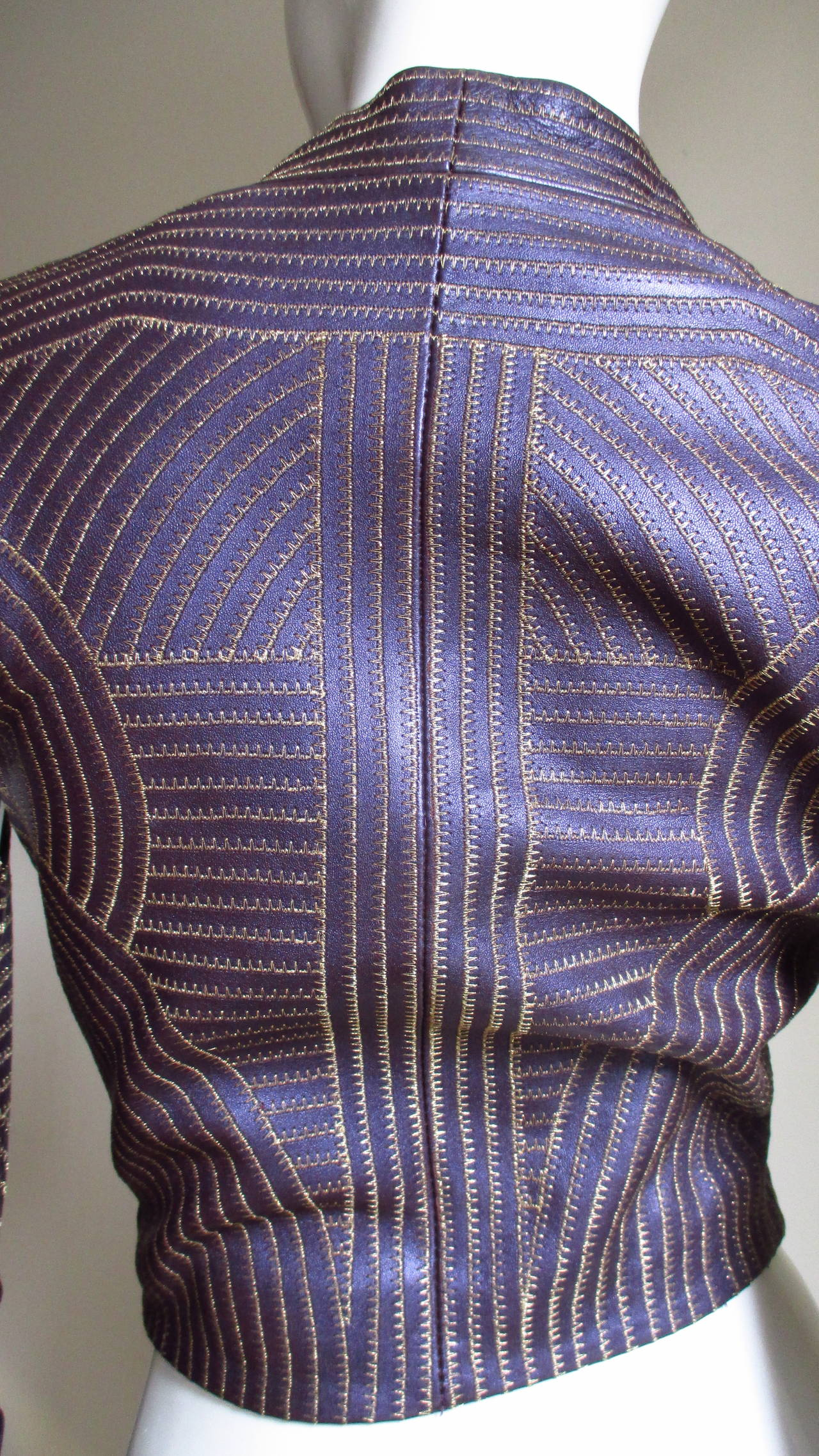 Extraordinary Vintage Ferre Purple Leather Gold Stitched Cutout Jacket 8