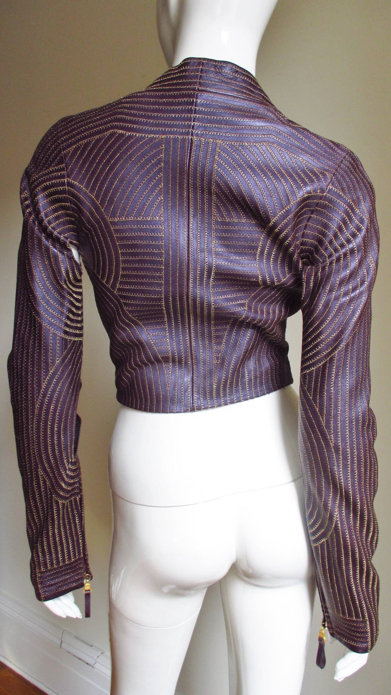 Extraordinary Vintage Ferre Purple Leather Gold Stitched Cutout Jacket 9