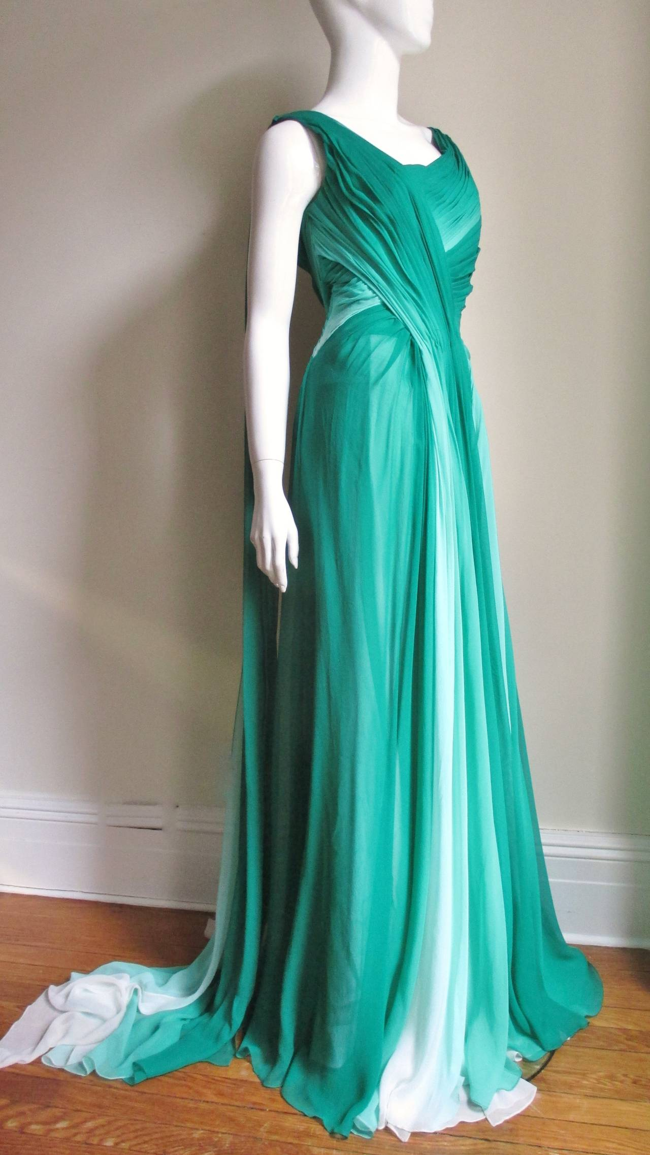Women's Monique L'huillier Emerald Silk Ombre Gown With Train For Sale