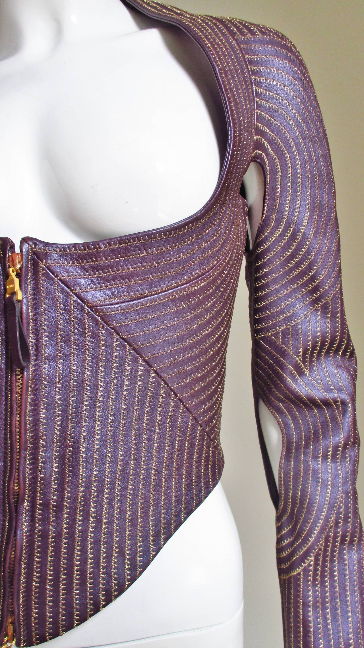 Extraordinary Vintage Ferre Purple Leather Gold Stitched Cutout Jacket 3