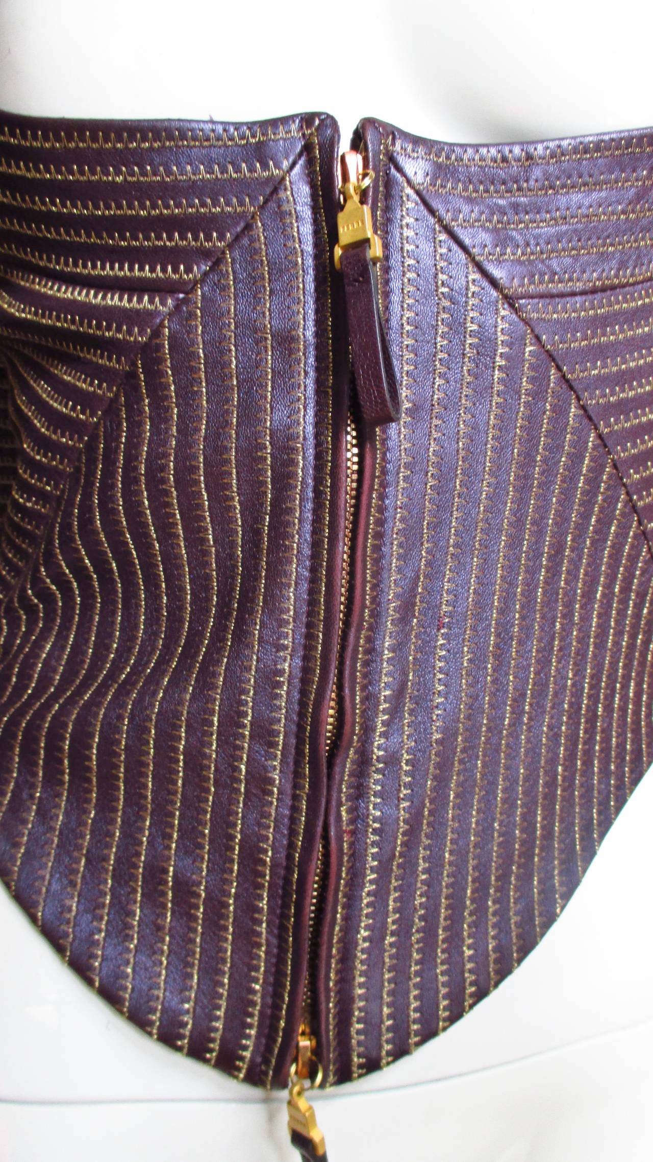 Extraordinary Vintage Ferre Purple Leather Gold Stitched Cutout Jacket 2