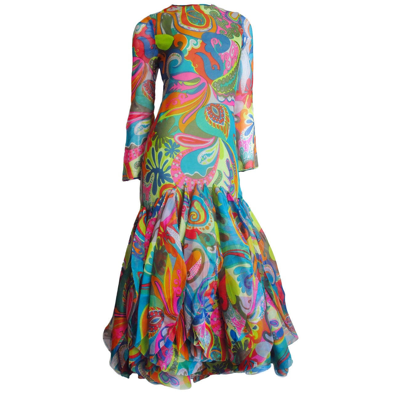 Incredible 1960s Pierre Cardin Psychedelic Orb Hem Dress 1
