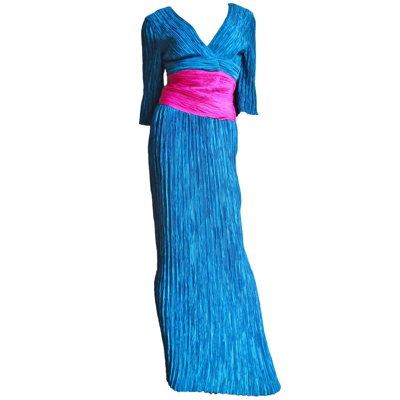 Mary McFadden Couture Colorblock Plunge Gown 1