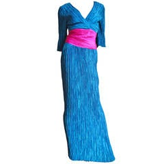 Mary McFadden Couture Colorblock Plunge Gown