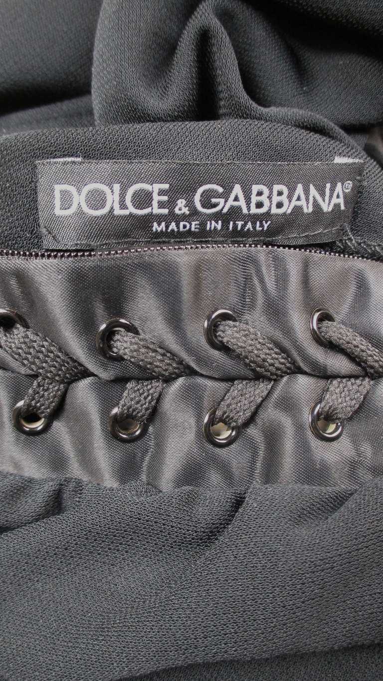 Dolce & Gabbana One Sleeve Side Laceup Dress For Sale 5