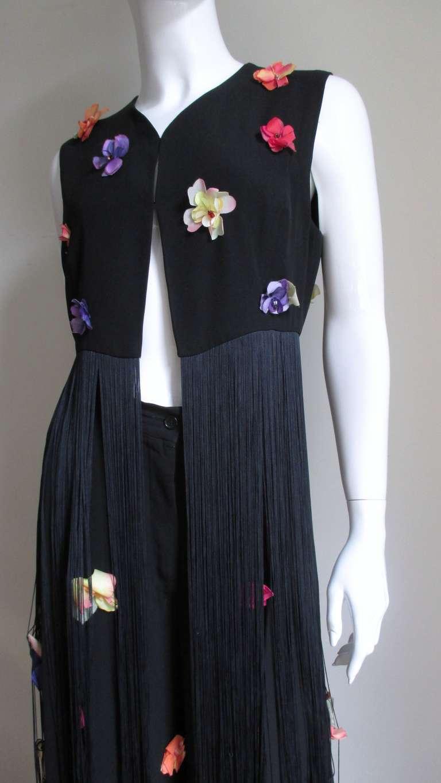 1990s Dolce & Gabbana Flower Applique Fringe Top & Pants 2