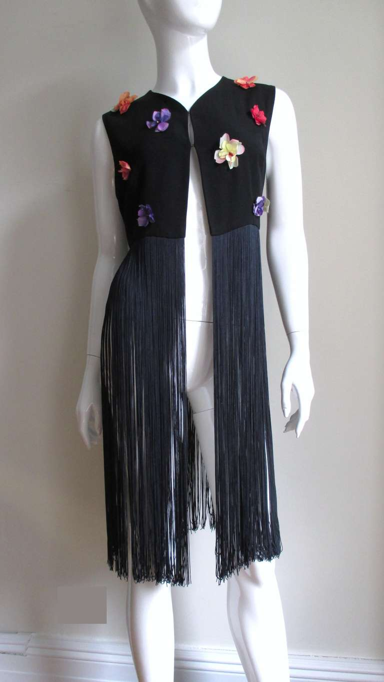 1990s Dolce & Gabbana Flower Applique Fringe Top & Pants In Excellent Condition For Sale In New York, NY