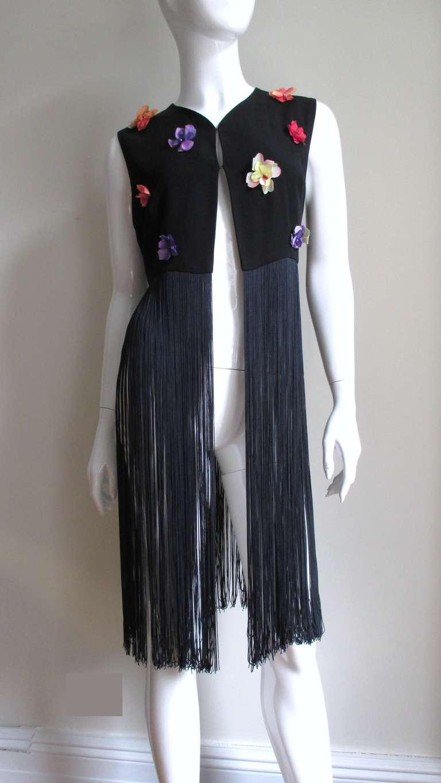 1990s Dolce & Gabbana Flower Applique Fringe Top & Pants 4