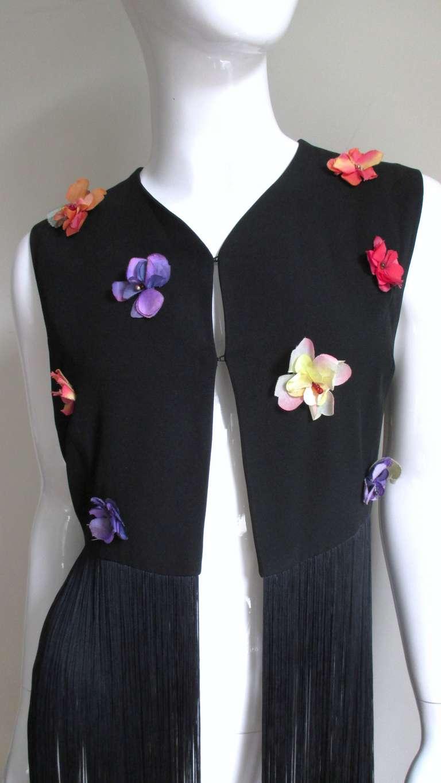 Black 1990s Dolce & Gabbana Flower Applique Fringe Top & Pants For Sale