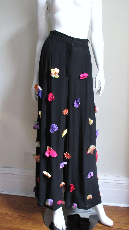 Women's 1990s Dolce & Gabbana Flower Applique Fringe Top & Pants For Sale