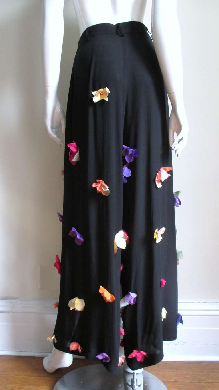 1990s Dolce & Gabbana Flower Applique Fringe Top & Pants For Sale 3