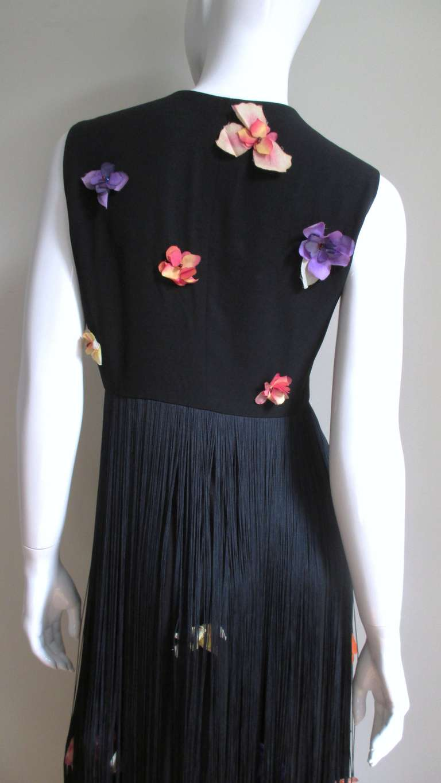 1990s Dolce & Gabbana Flower Applique Fringe Top & Pants For Sale 1