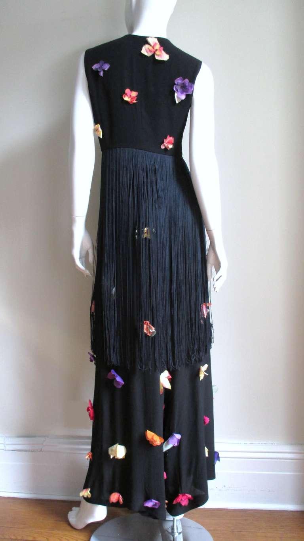 1990s Dolce & Gabbana Flower Applique Fringe Top & Pants For Sale 4
