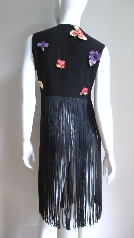 1990s Dolce & Gabbana Flower Applique Fringe Top & Pants For Sale 2