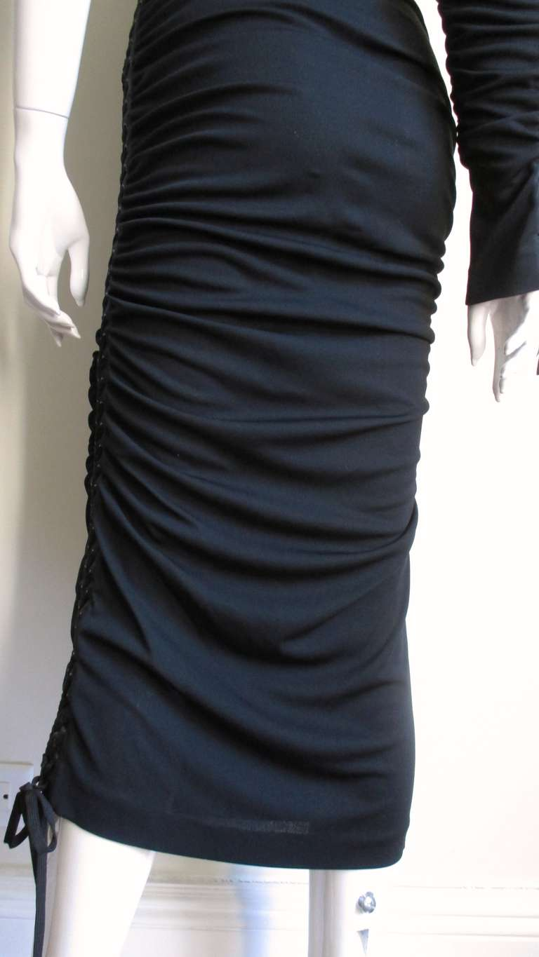Dolce & Gabbana One Sleeve Side Laceup Dress For Sale 3