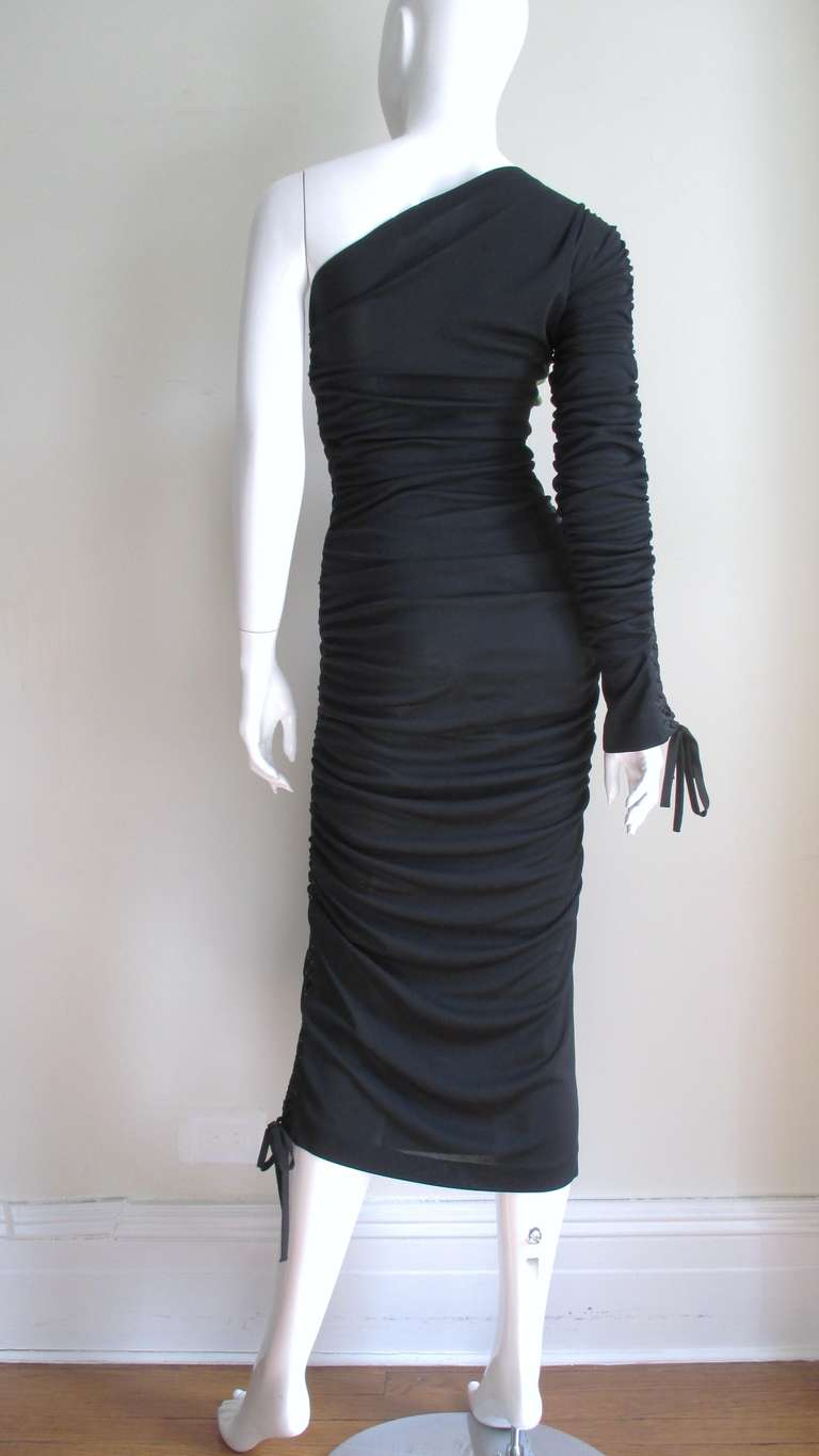 Dolce & Gabbana One Sleeve Side Laceup Dress For Sale 4
