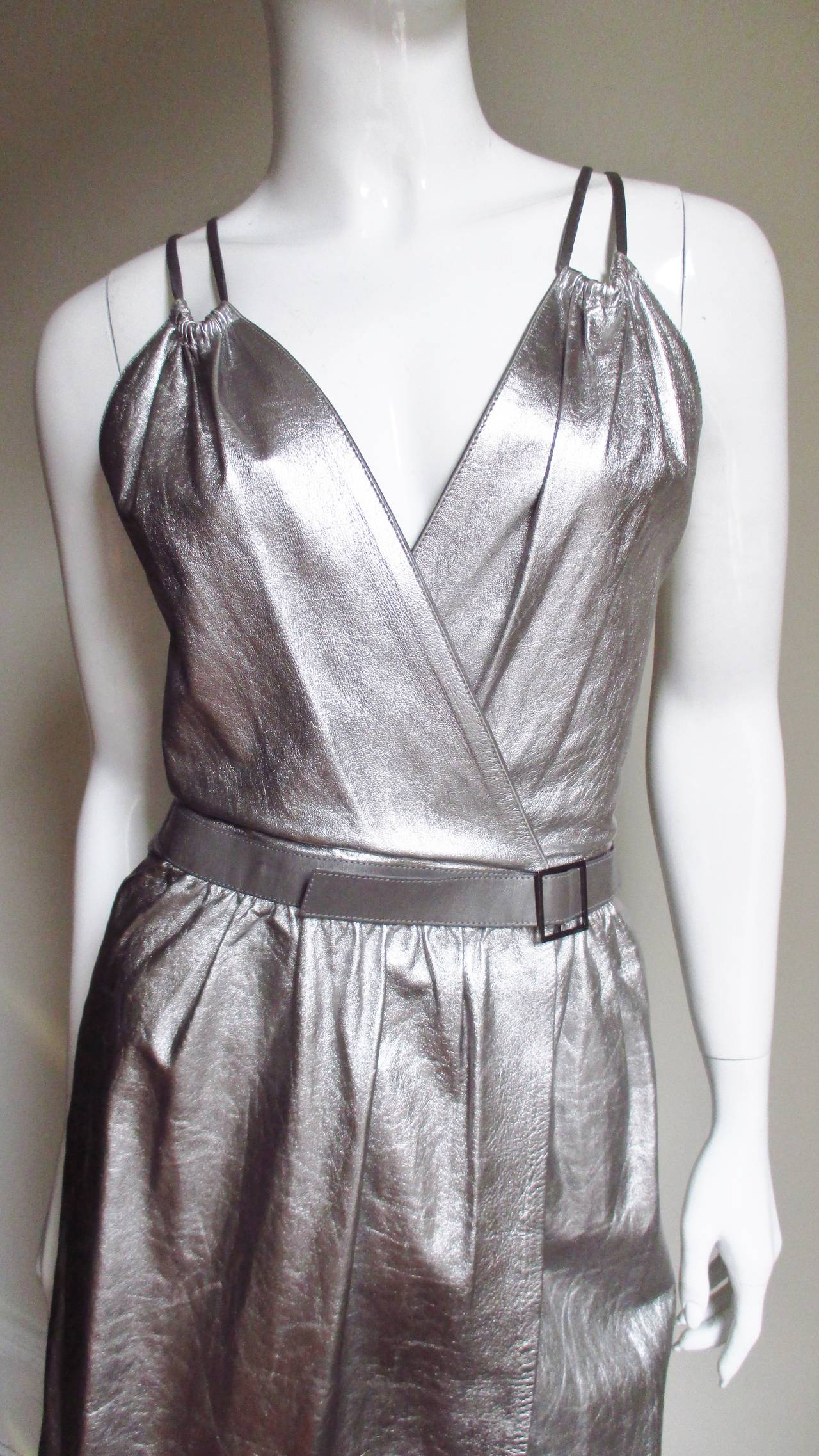 Tom Ford Gucci Silver Leather Backless Wrap Dress 3