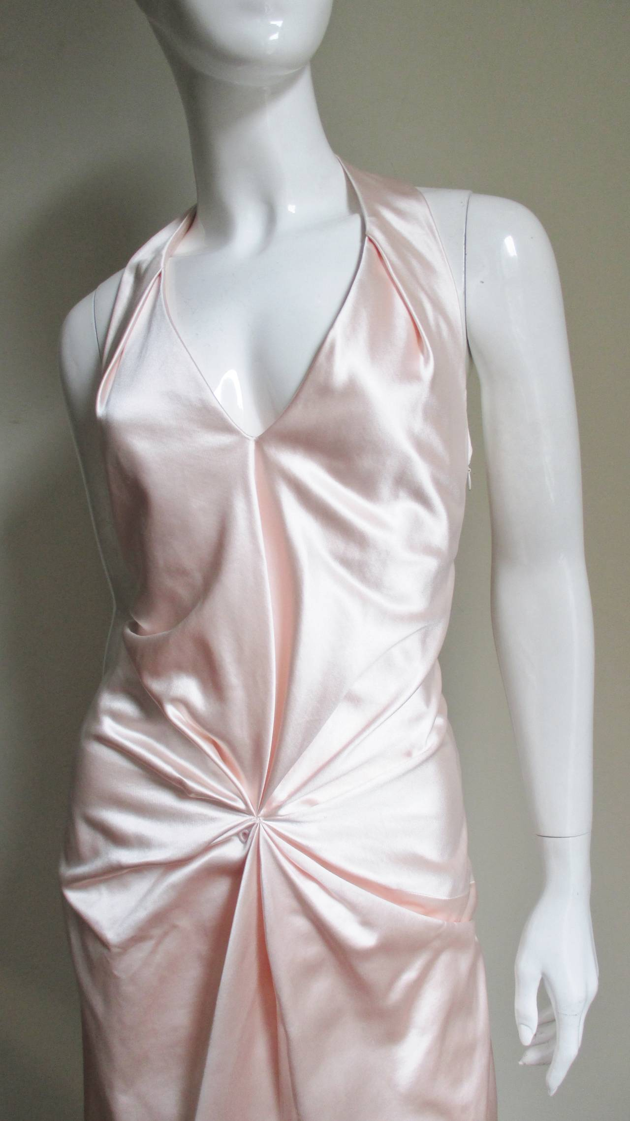Gray Ferragamo Shell Pink Plunge Silk Dress For Sale