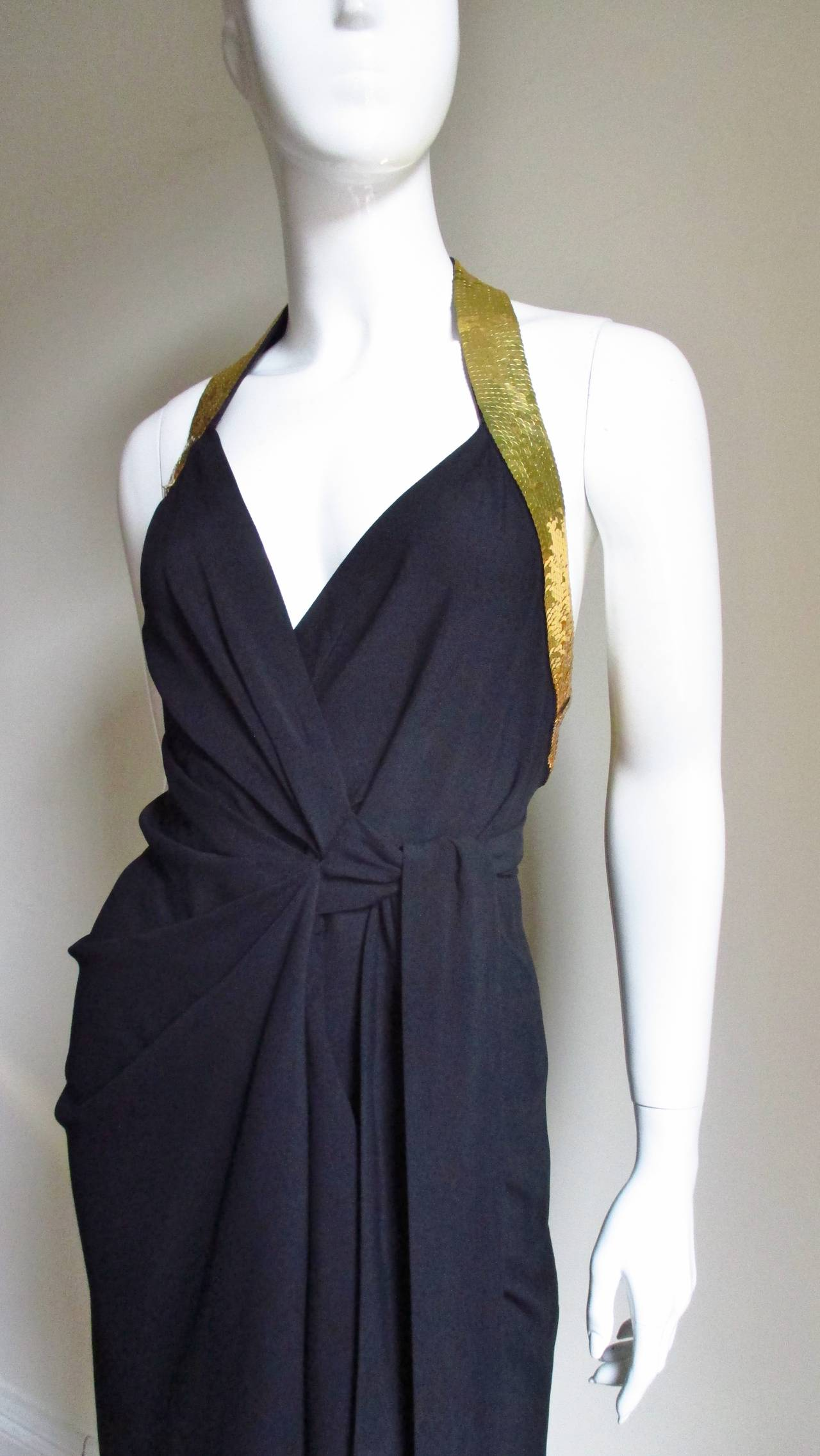 1990s Moschino Couture Gold Sequin Peace Sign Dress 2