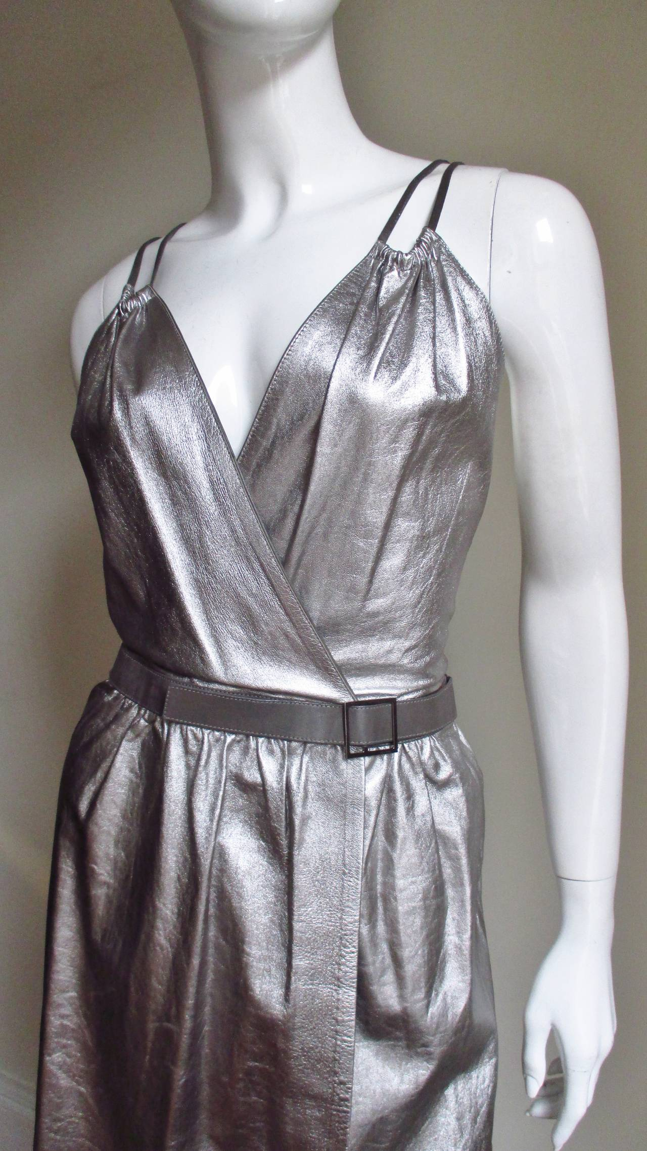 Tom Ford Gucci Silver Leather Backless Wrap Dress 2