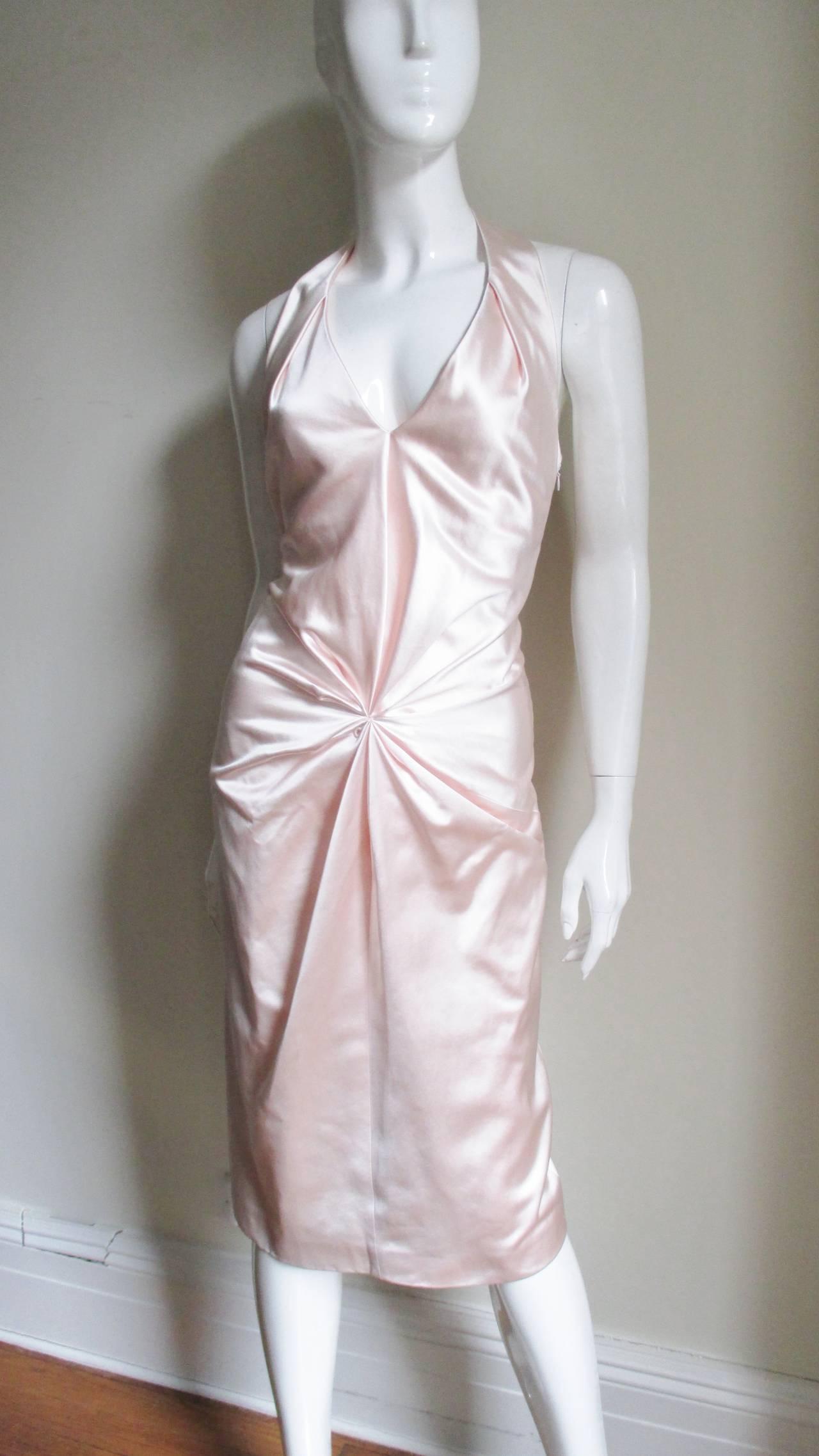 Women's Ferragamo Shell Pink Plunge Silk Dress For Sale