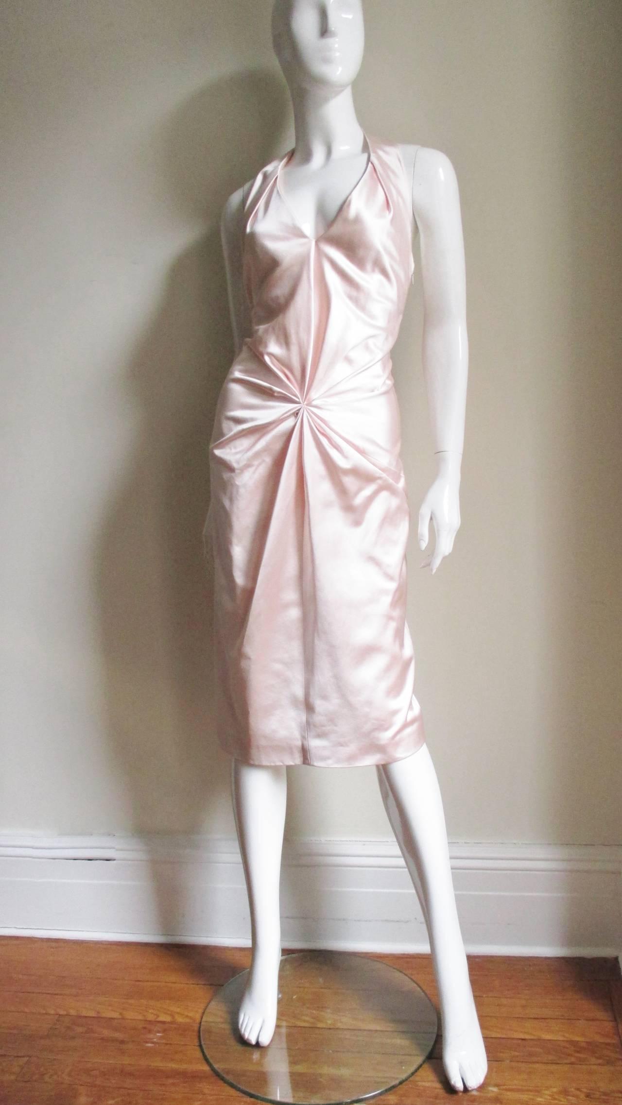Ferragamo Shell Pink Plunge Silk Dress For Sale 1