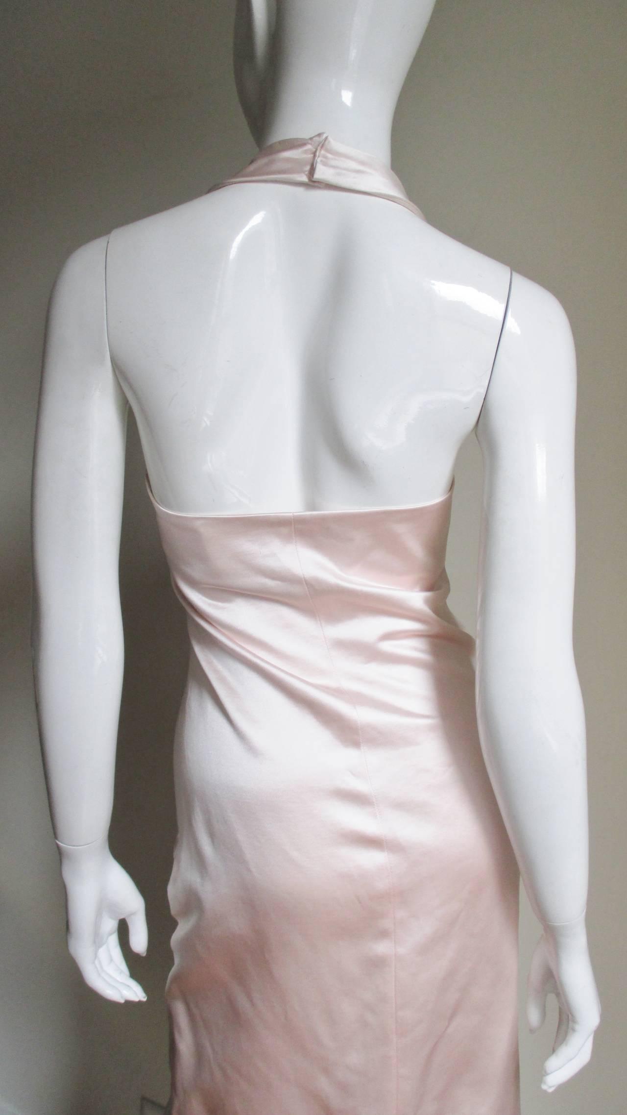 Ferragamo Shell Pink Plunge Silk Dress For Sale 3