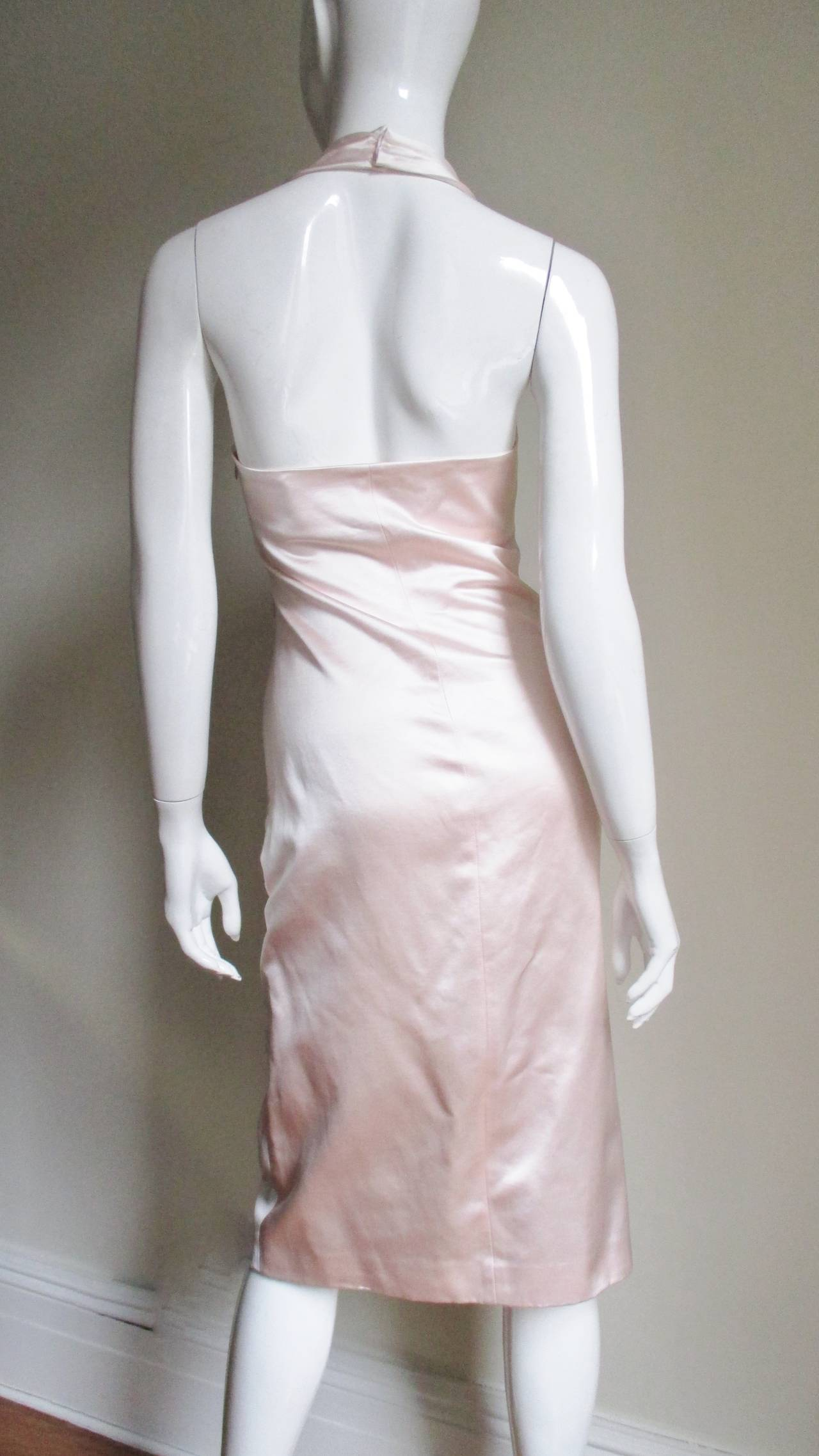 Ferragamo Shell Pink Plunge Silk Dress For Sale 2