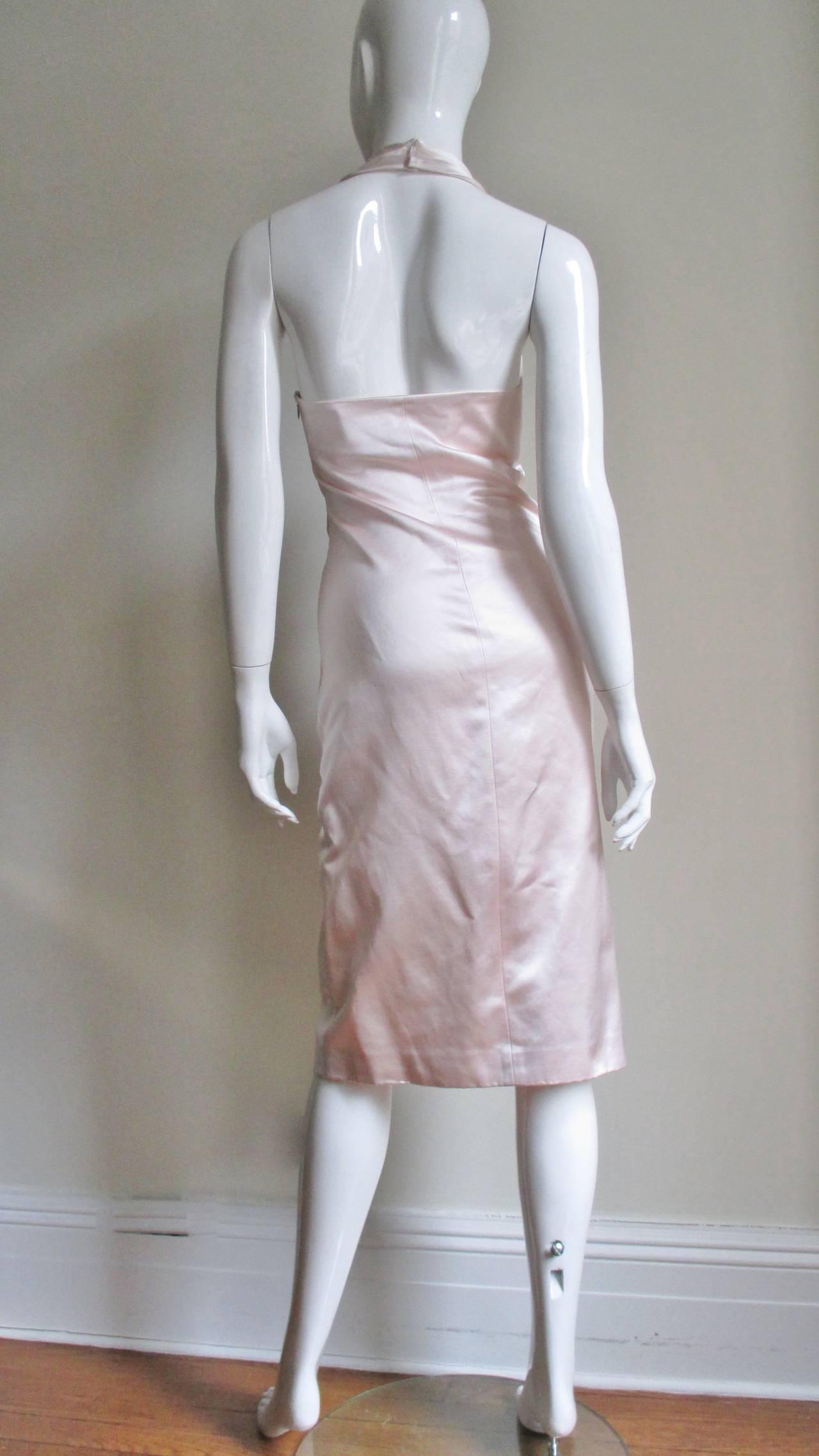 Ferragamo Shell Pink Plunge Silk Dress For Sale 4